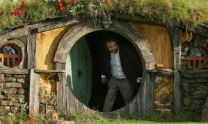 Peter Jackson leaving a Hobbit House in 2012. Photograph: Hagen Hopkins/Getty Images